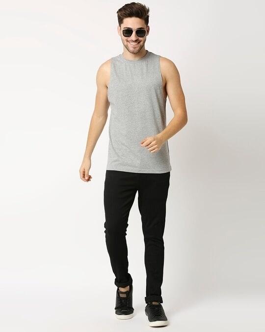 Shop Grey Melange Deep Armhole Vest