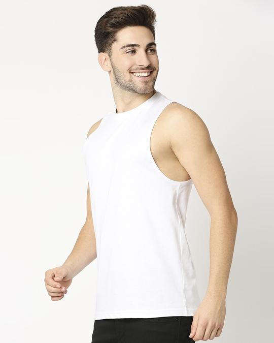 Shop White Deep Armhole Vest-Back
