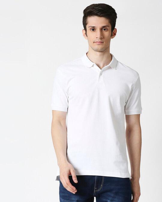 Shop White Basic Pique Polo-Back
