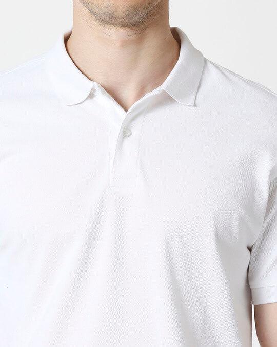 Shop White Basic Pique Polo