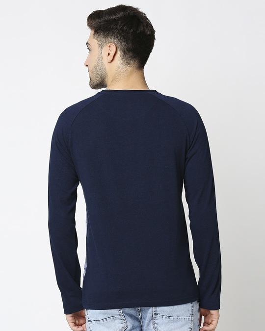 Shop Men's Indigo Camo Printed Raglan T-Shirt-Full