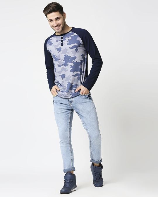 Shop Men's Indigo Camo Printed Raglan T-Shirt