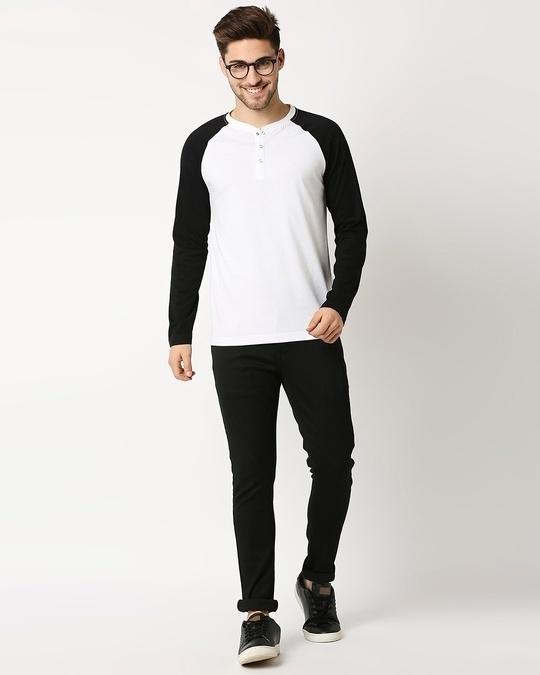 Shop White - Black Raglan Full Sleeve Henley-Full