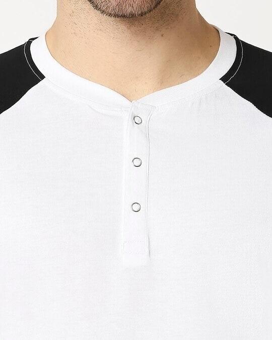 Shop White - Black Raglan Full Sleeve Henley