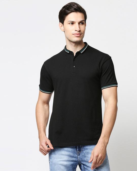 Shop Black Short Collar Tipping Polo-Front