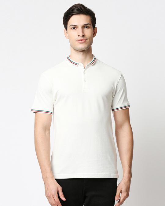 Shop White Short Collar Tipping Polo-Back