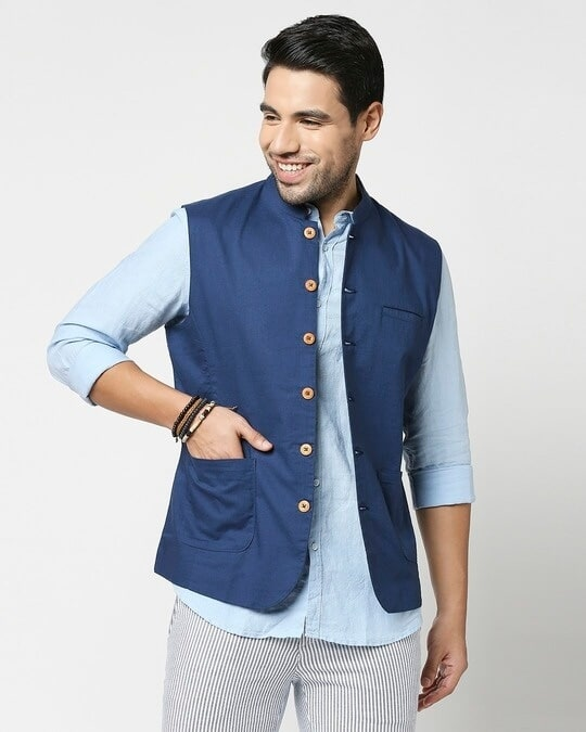 Shop Men's Solid Nehru Jacket-Back