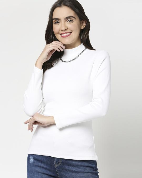 Shop Women's Turtle Neck Rib Full Sleeves T-Shirt-Front