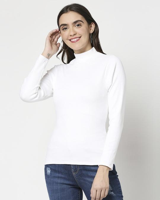 Shop Women's Turtle Neck Rib Full Sleeves T-Shirt-Back