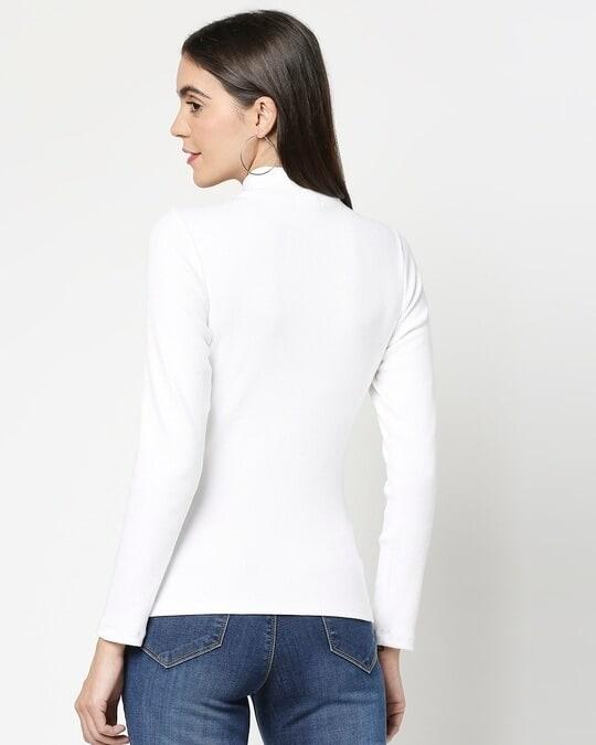 Shop Women's Turtle Neck Rib Full Sleeves T-Shirt-Full