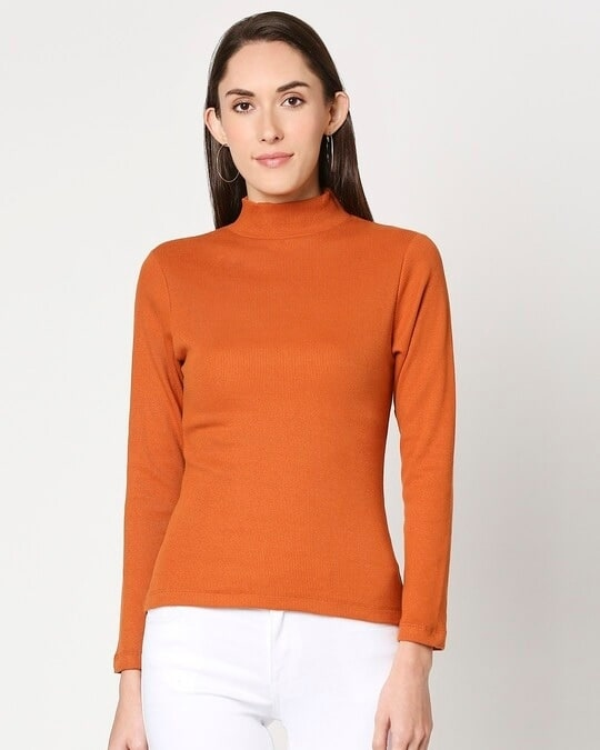 Shop Women's Turtle Neck Full Sleeves T-Shirt-Back