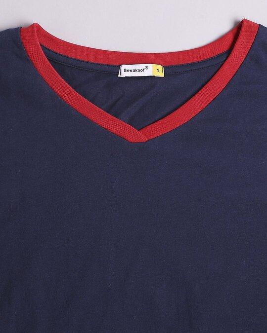 Shop Peageant Blue V Neck Striped Sleeves T-Shirt