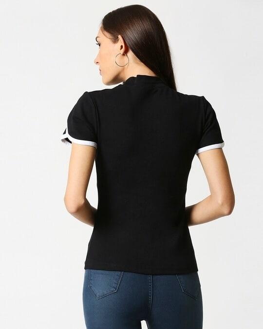 Shop Women's Petal Sleeves High Neck Rib T-Shirt-Full