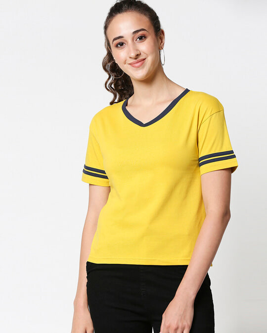 Shop Ceylon Yellow V Neck Stripe Sleeves T-Shirt-Front