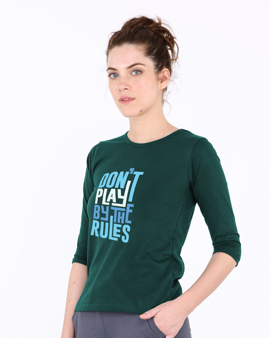 Shop Play By The Rules Round Neck 3/4th Sleeve T-Shirt-Back