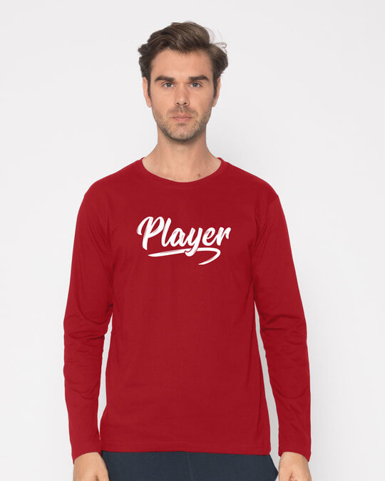 Shop Player Typography Full Sleeve T-Shirt-Front