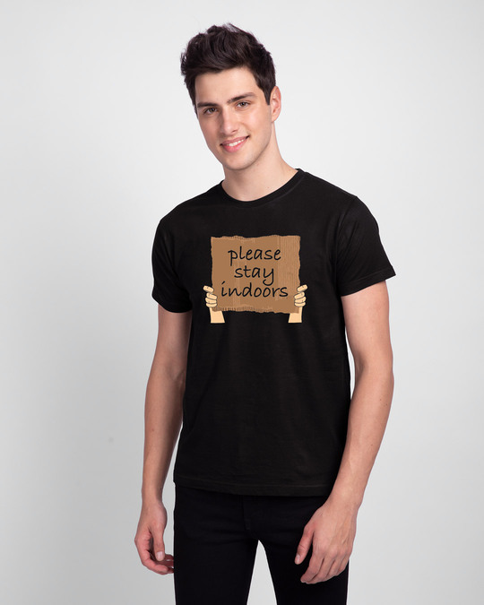 Shop Please Stay Indoors Half Sleeve T-Shirt-Front