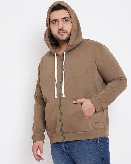 Shop Men's Plus Size Solid Stylish Casual Winter Hooded Sweatshirt-Back