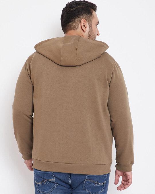 Shop Men's Plus Size Solid Stylish Casual Winter Hooded Sweatshirt-Design