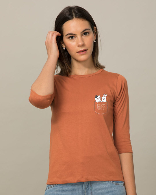Shop Pocket Bff Round Neck 3/4th Sleeve T-Shirt-Back
