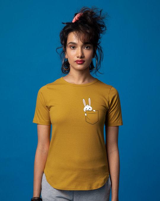 Shop Pocket Bunny Basic Round Hem T-Shirt-Back
