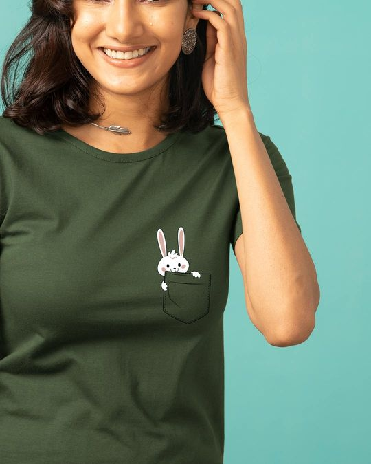 Shop Pocket Bunny Basic Round Hem T-Shirt-Front