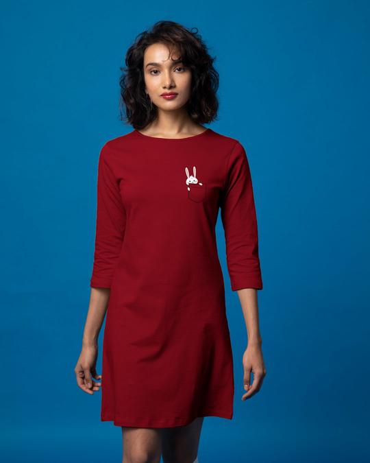 Shop Pocket Bunny Boat Neck 3/4th Sleeve T-Shirt Dress-Back
