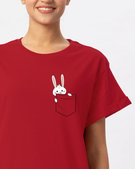 Shop Pocket Bunny Boyfriend T-Shirt-Front