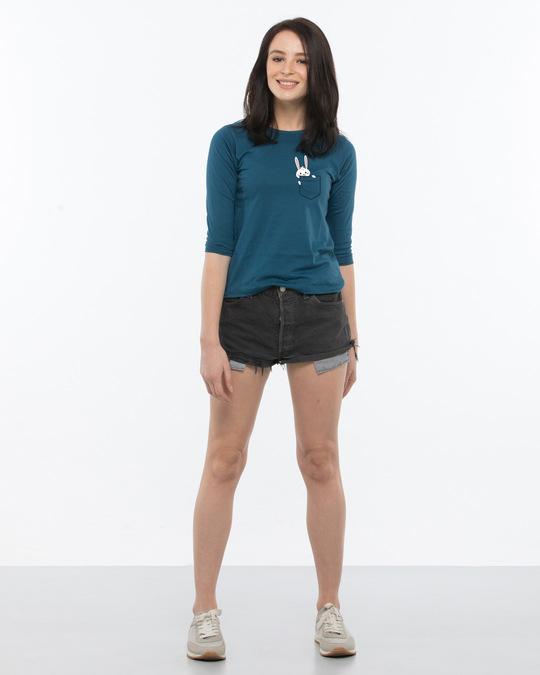Shop Pocket Bunny Round Neck 3/4th Sleeve T-Shirt