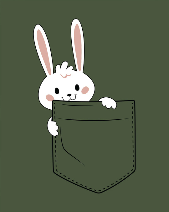 Shop Pocket Bunny Round Neck 3/4th Sleeve T-Shirt