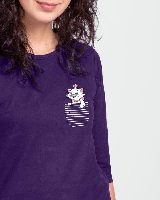 Shop Pocket Cat Round Neck 3/4 Sleeve T-Shirts Parachute Purple (DL)-Front