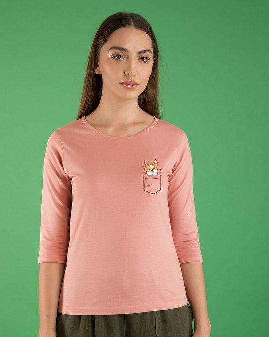 Shop Pocket Corgi Round Neck 3/4th Sleeve T-Shirt-Back