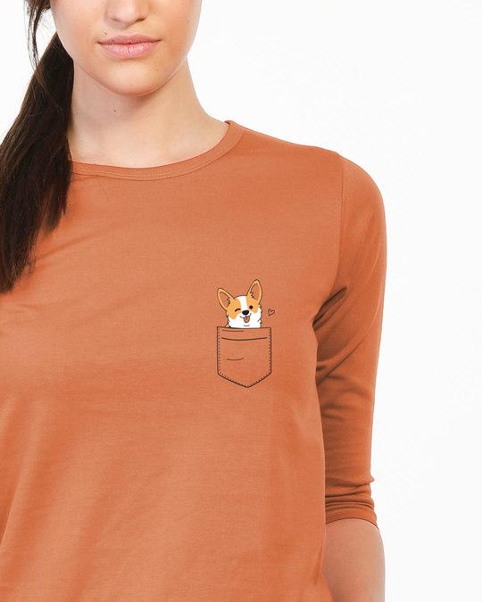Shop Pocket Corgi Round Neck 3/4th Sleeve T-Shirt-Front