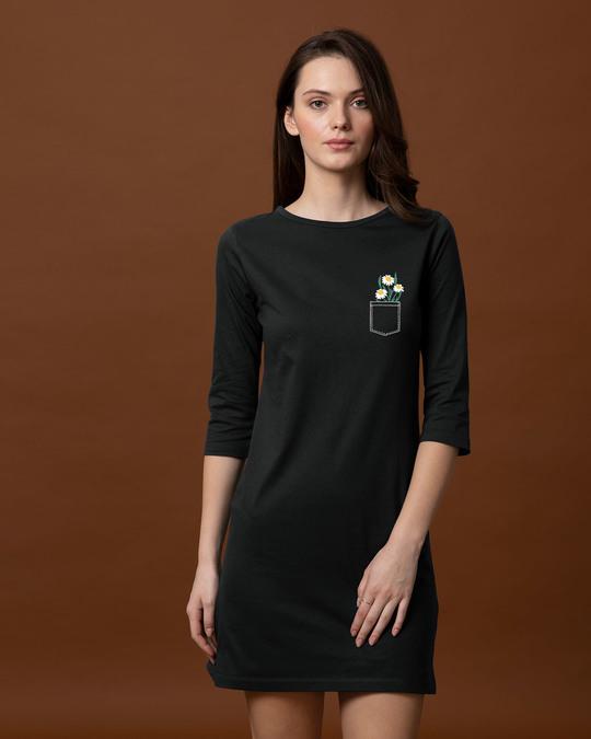 Shop Pocket Daisies Boat Neck 3/4th Sleeve T-Shirt Dress-Front