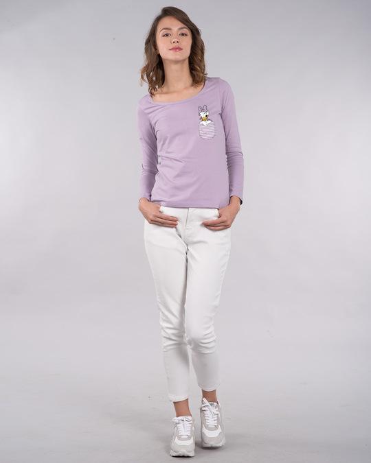 Shop Pocket Daisy Scoop Neck Full Sleeve T-Shirt (DL)-Design