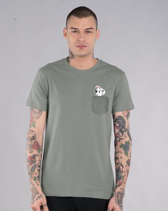 Shop Pocket Dalmatian Half Sleeve T-Shirt (DL)-Front