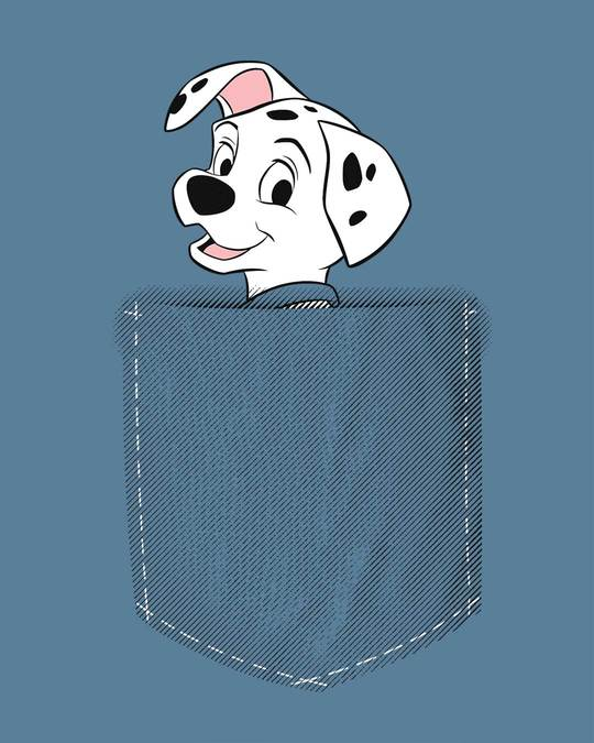 Shop Pocket Dalmatian Round Neck 3/4th Sleeve T-Shirt (DL)-Full