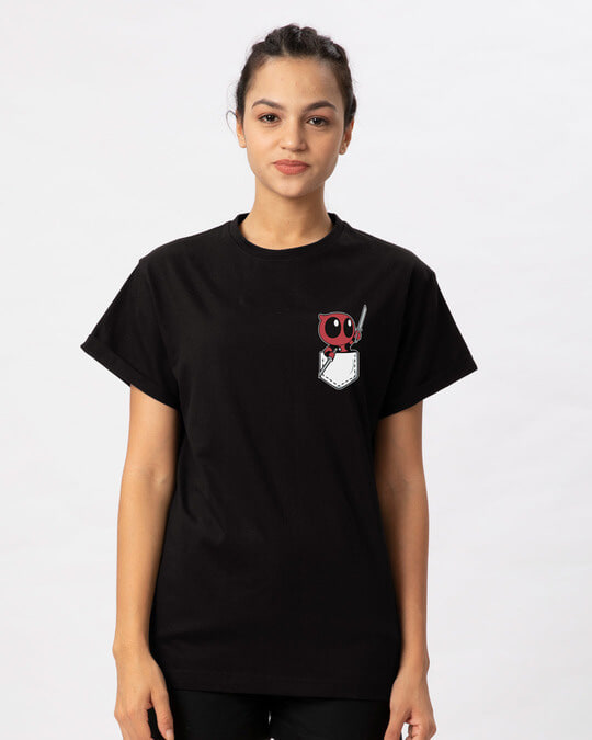 Shop Pocket Deadpool Boyfriend T-Shirt (DPL)-Back