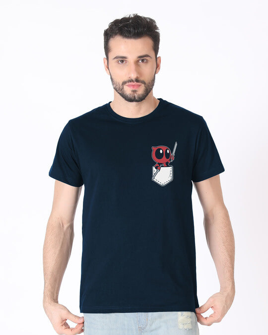 Shop Pocket Deadpool Half Sleeve T-Shirt (DPL)-Back