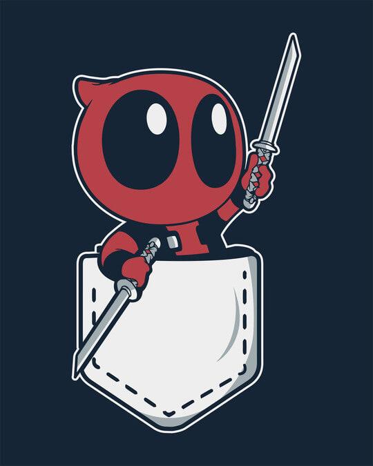 Shop Pocket Deadpool Half Sleeve T-Shirt (DPL)