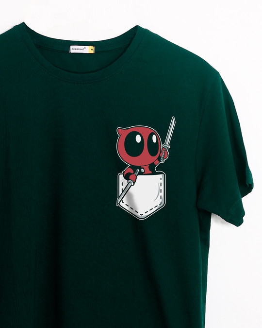 Shop Pocket Deadpool Half Sleeve T-Shirt (DPL)-Front