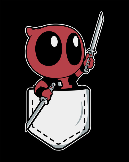 Shop Pocket Deadpool Round Neck 3/4th Sleeve T-Shirt (DPL)