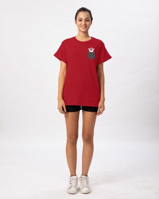 Shop Pocket Ghost Boyfriend T-Shirt-Full