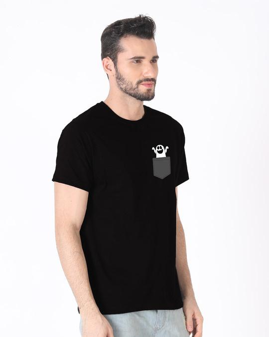 Shop Pocket Ghost Half Sleeve T-Shirt-Full
