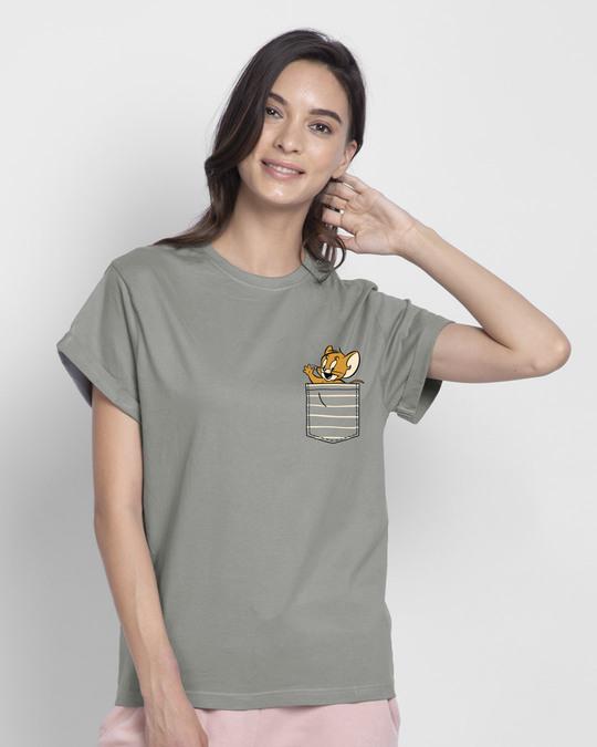 Shop Pocket Jerry Boyfriend T-Shirt (TJL)-Back