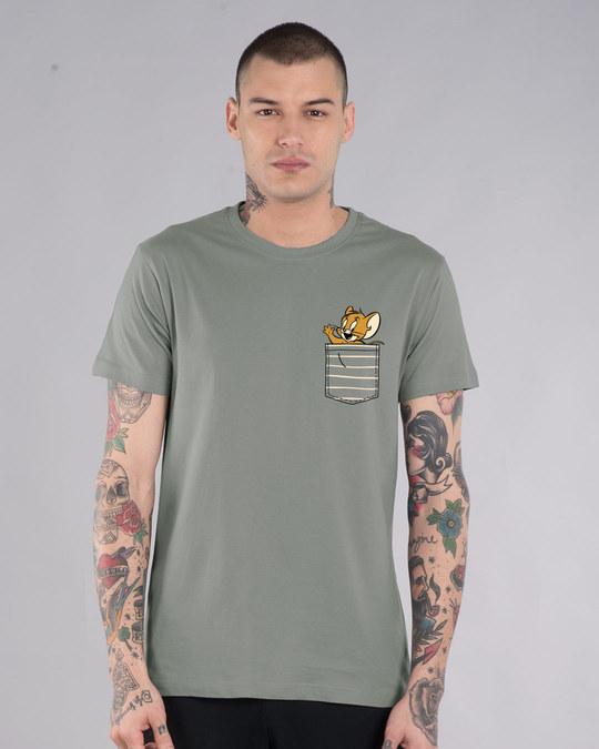 Shop Pocket Jerry Half Sleeve T-Shirt (TJL)-Front