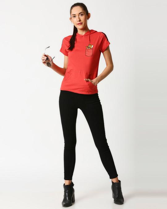 Shop Pocket Jerry Half Sleeve Printed Hoodie T-Shirt(TJL)-Design