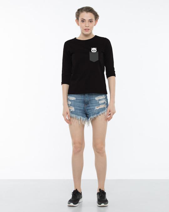 Shop Pocket Panda Round Neck 3/4th Sleeve T-Shirt
