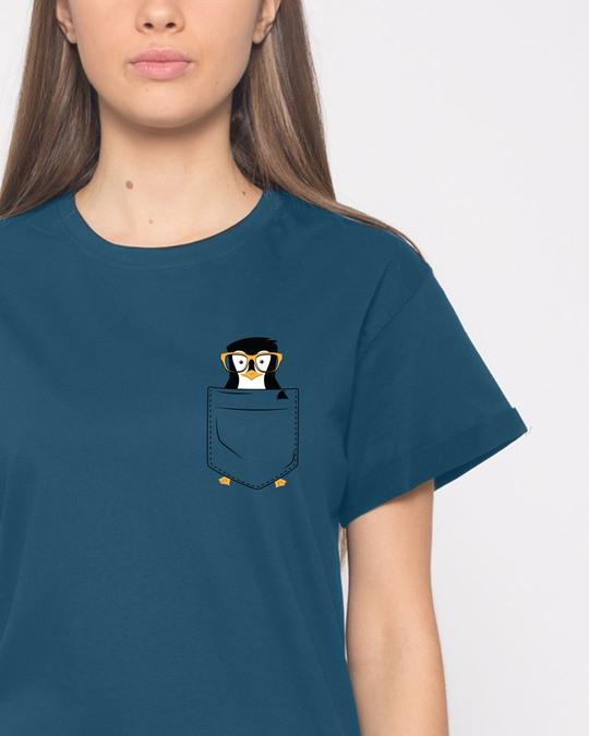 Shop Pocket Penguin Boyfriend T-Shirt-Front