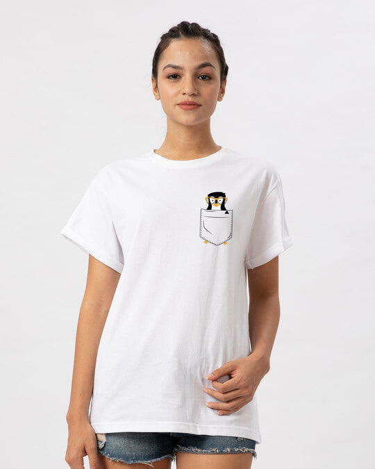 Shop Pocket Penguin Boyfriend T-Shirt-Back